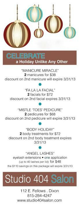 Join us for Holiday Open House on Nov. 5 . Special prices for our Holiday Spa Packages that day only!
