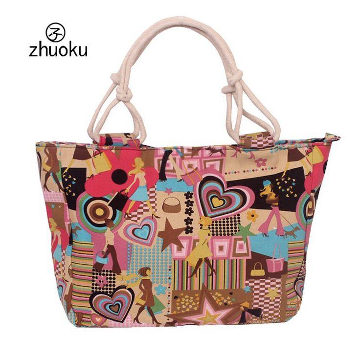 2016 Hot Selling Women Bag Canvas Handbags Fashion Flower Print Stripes Large Beach Bags Shoulder Bag bolsa H350