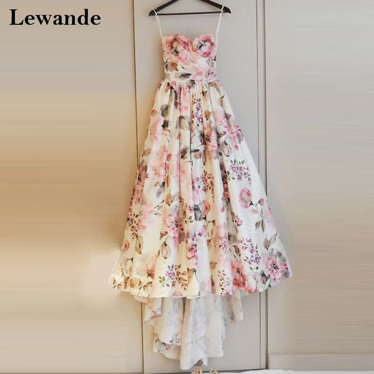Fashion Hi Low Sweetheart Floral Print High School Homecoming Dress for Juniors Lewande A-line Cinderella Sweet 16 Pageant Gown