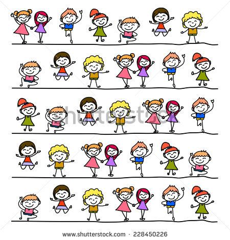 hand drawing cartoon abstract character happy people