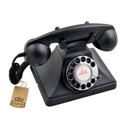 GPO Retro telefoon jaren '50 met draaischijf zwart - GPO 200BLA