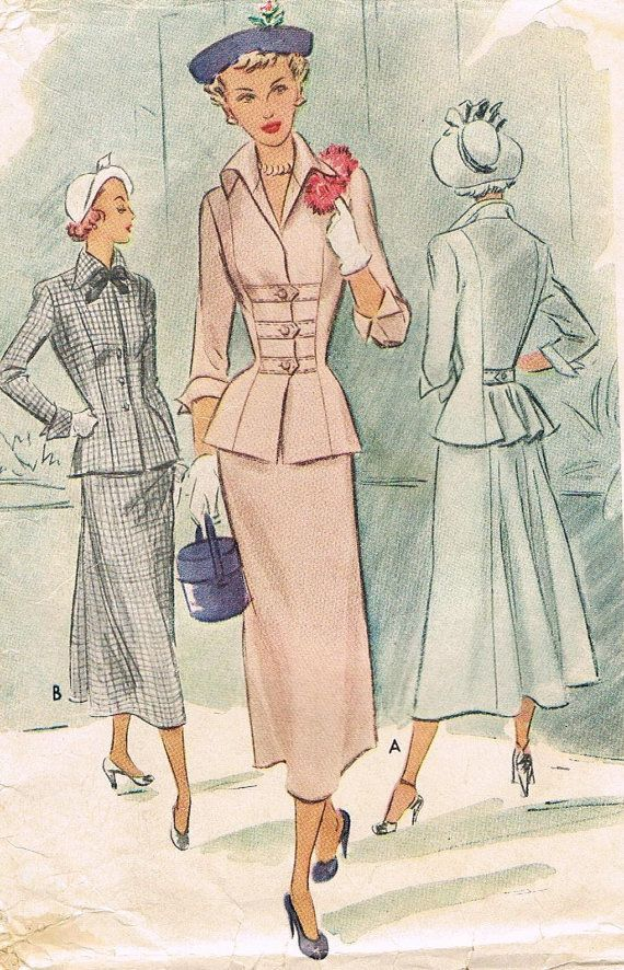 1940s Two Piece Dress McCall 7697 Peplum Fitted by JFerrariDesigns, $65.00