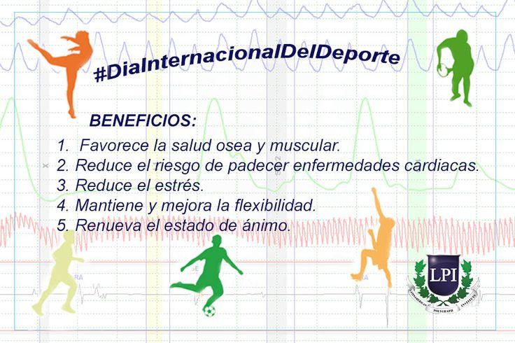 Hoy 6 de Abril se celebra el #DiaInternacionalDelDeporte , recuerda se necesitan como mínimo 30 minutos de ejercicio diario, para mejorar tu salud física y mental.