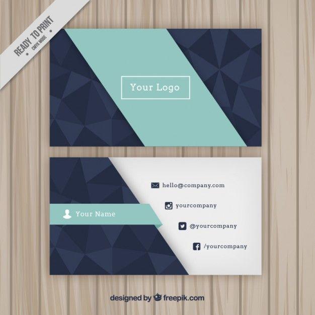 cartão de empresa geométrica com polígonos Vetor Premium