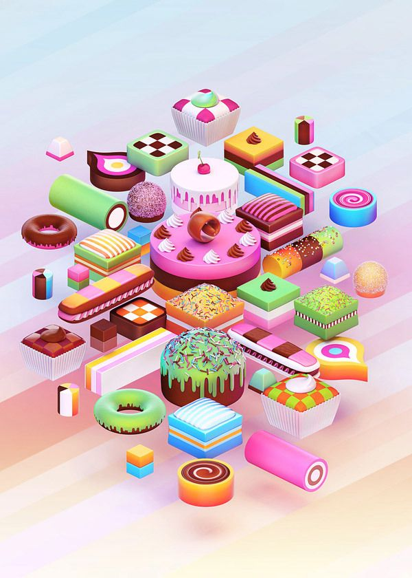 Nik Ainley - Cakes, Digital illustration   # Pin++ for Pinterest #