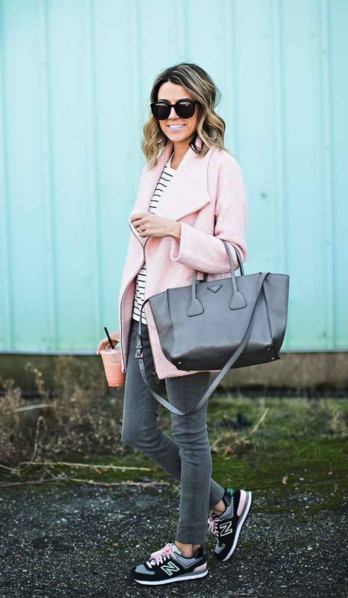 Pale pink coat | Grey Prada | Striped Boyfriend Tee | Grey Denim | Black & Pink Sneakers