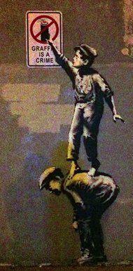 The new Banksy work... 18 Allen Street, near Canal Street, Lower Manhattan, New York. 0ct 2013. ☀