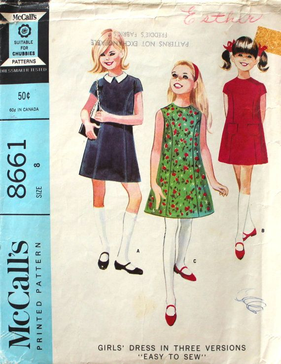 Sweet Girl's Dress Size 8 McCall's 8661 by SewVintageNow on Etsy
