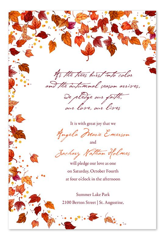 1000+ ideas about Fall Wedding Invitations on Pinterest | Fall ...