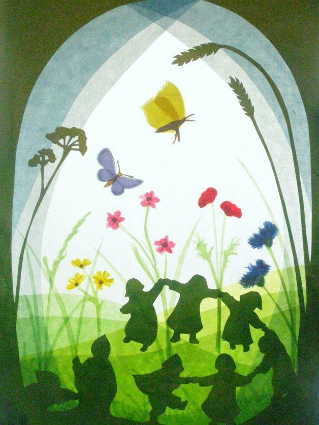 Handgemachte Foto-Grußkarte mit Umschlag. Foto ist von einer ursprünglichen Fensterbild  inspiriert durch die Arbeiten von Sibylle von Olfers. Das beigefügte Foto zeigt nur das Design, das auf...