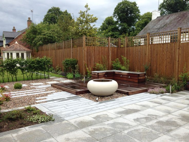 Superb Country garden contemporary garden design granite paving plank paving