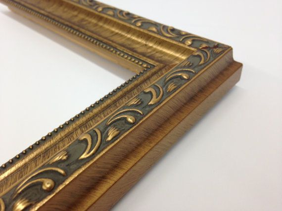 """Gold Ornate Scooped, All Wood Picture Frame  Scoop with beaded edge   If you would like your frame to be free standing, choose With Easel in the options.  COMES COMPLETE WITH GLASS, ACID-FREE BACKING AND HANGING HARDWARE.    Frame Width: 1 3/8  Frame Height: 1  Color: Gold  Find SILVER here: https://www.etsy.com/listing/252306058   SIZES AVAILABLE: 3x 5 4""""x6"""" 5""""x 7"""" 8""""x 10"""" 8.5x 11 (Diploma Frame) 11x 14 16x 20 Custom Sizes available. Just message us for a quote.   Th..."""