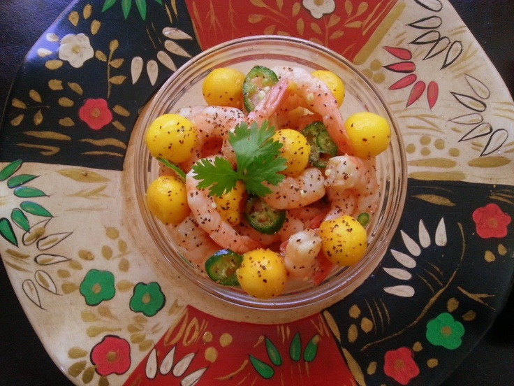 Adriana's Best Recipes ~   Umami Shrimp Ceviche   INGREDIENTS:  1 pound of peeled, cooked and deveined medium size shrimp  2 cups of mango pearls  1/2 cup of meyer lemon juice  1/3 cup of Kikkoman Ponzu Lime Sauce  1 fresh serrano pepper cut in rounds  1/2 teaspoon of black and cayenne peppers  Preparation time: 30 minutes. Serves 4-6 guests.