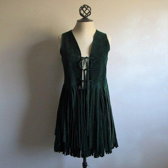 Vintage 60s Hippie Fringe Vest Skirt 1960s 2 pc Dark Green Suede Rocker Gypsy Festival Skirt Suit XS