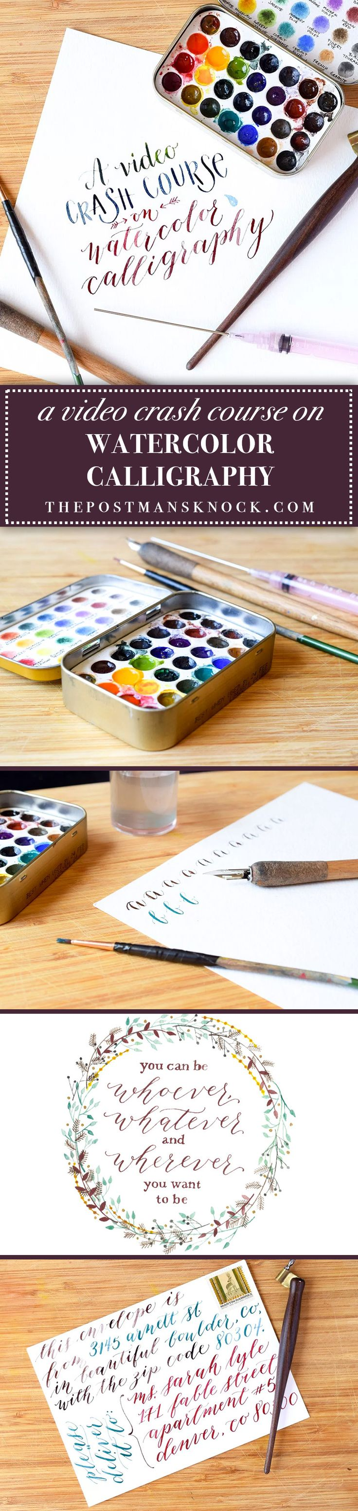 "After reading this blog post (and watching the ~10 minute video ""crash course""), you'll be well on your way to creating watercolor calligraphy with a dip pen!"