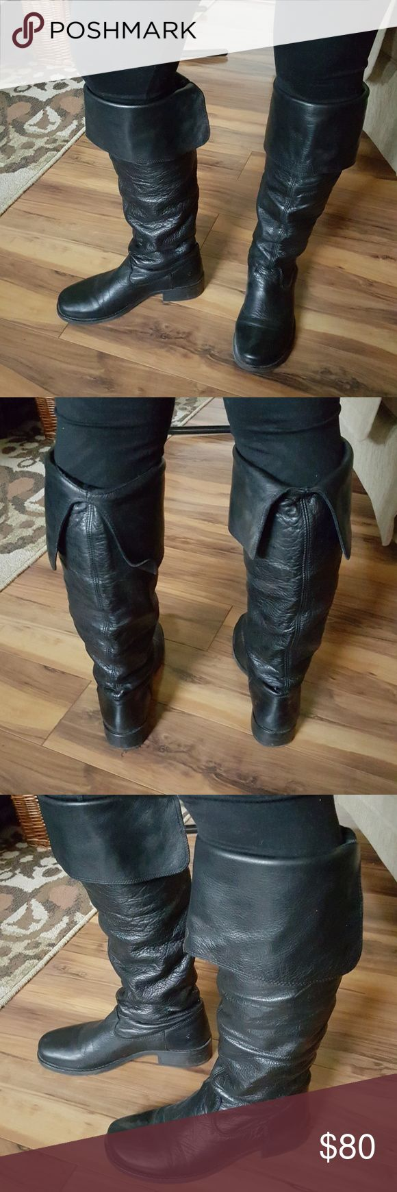 EUC- Black Leather Kneehigh Boots EUC- Black Leather Kneehigh Boots. Folder-over styling at top of boot,  can be unfolded and worn over the knee.  Very soft supple leather.  Pull on styling,  only  worn a couple of times.  Purchased in Denmark, too hot for Florida, though perfect buccaneer boots! 1 1/4 inch heel. Shaft length 13.5 inches,  widest shaft width 14 inches. Vilbar Shoes Over the Knee Boots