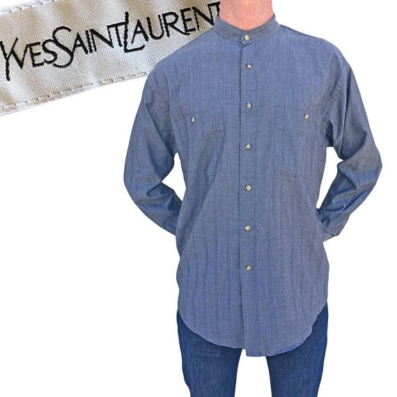 f46460fd Vintage Yves Saint Laurent Striped Chambray Shirt — M | GOLDEN HILLS ...