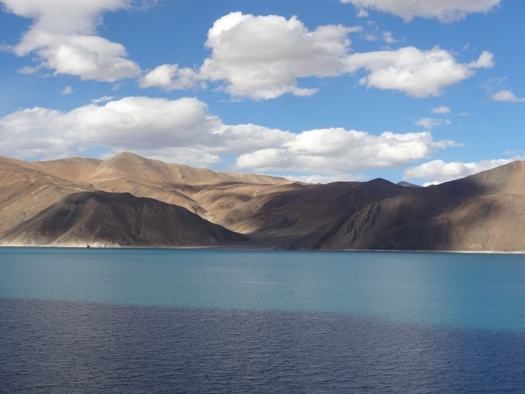 Pangong Lake- Its the Highest salt water Lake in the World , Shared by India and china.. it  freezes during the winter - The lake become famous after the movie - 3 idiots —taken during Leh-Ladakh trip