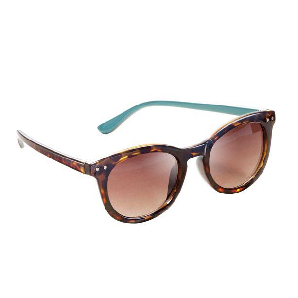 Női lekerekített 'Wayfarer' stílusú napszemüveg teknőcmintás kerettel és divatos türkizszínű szárral.