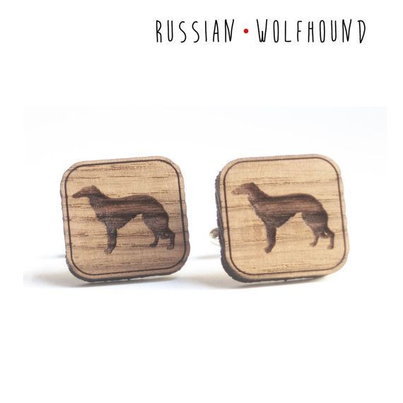 Russian Wolfhound cufflinks for dogs lovers rustic di DARQDESIGN