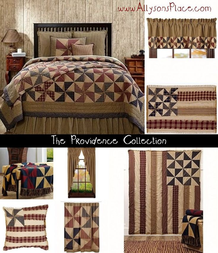 The Providence Quilt Collection / Americana Pinwheel Inpspired / Like us on Facebook! www.facebook.com/allysonsplacedecor / #Primitive #Country #Décor #American