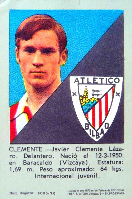 Cromo de Fútbol Athletic de Bilbao Jacier Clemente Temporadea 70-71 Editorial Fher
