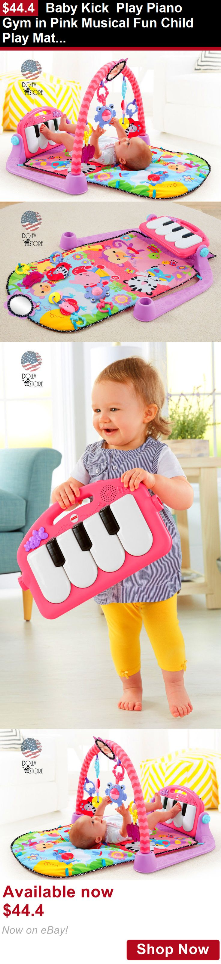 Baby gyms and play mats: Baby Kick Play Piano Gym In Pink Musical Fun Child Play Mat Overhead Toys New BUY IT NOW ONLY: $44.4