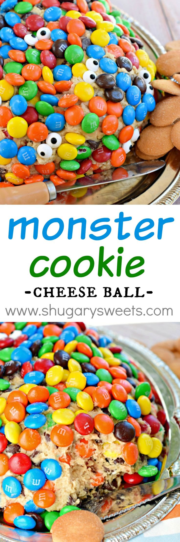 This Monster Cookie Cheese Ball with M&M'S is a crowd pleaser for any Halloween party! Check out this recipe from @shugarysweets.