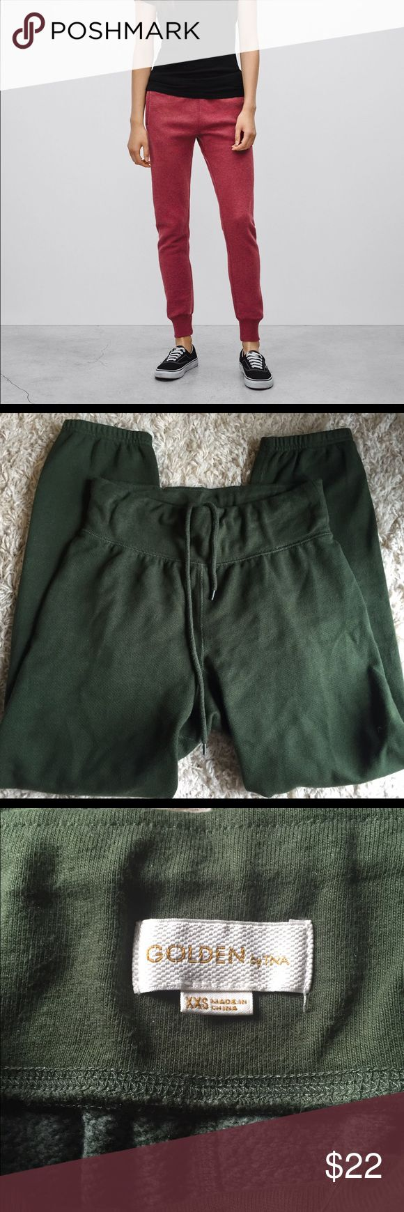 Aritzia Golden by TNA green fleece joggers xxs Aritzia green joggers by Golden and TNA. Size xxs does have stretch, inner drawstring for the perfect fit. Worn once then hand washed. Aritzia Pants Track Pants & Joggers
