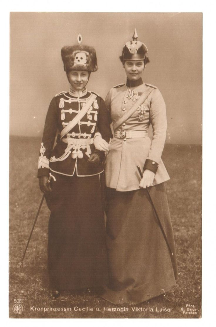 Crown Princess Cecilie of Prussia andPrincess Viktoria Luise in uniforms, c.1910
