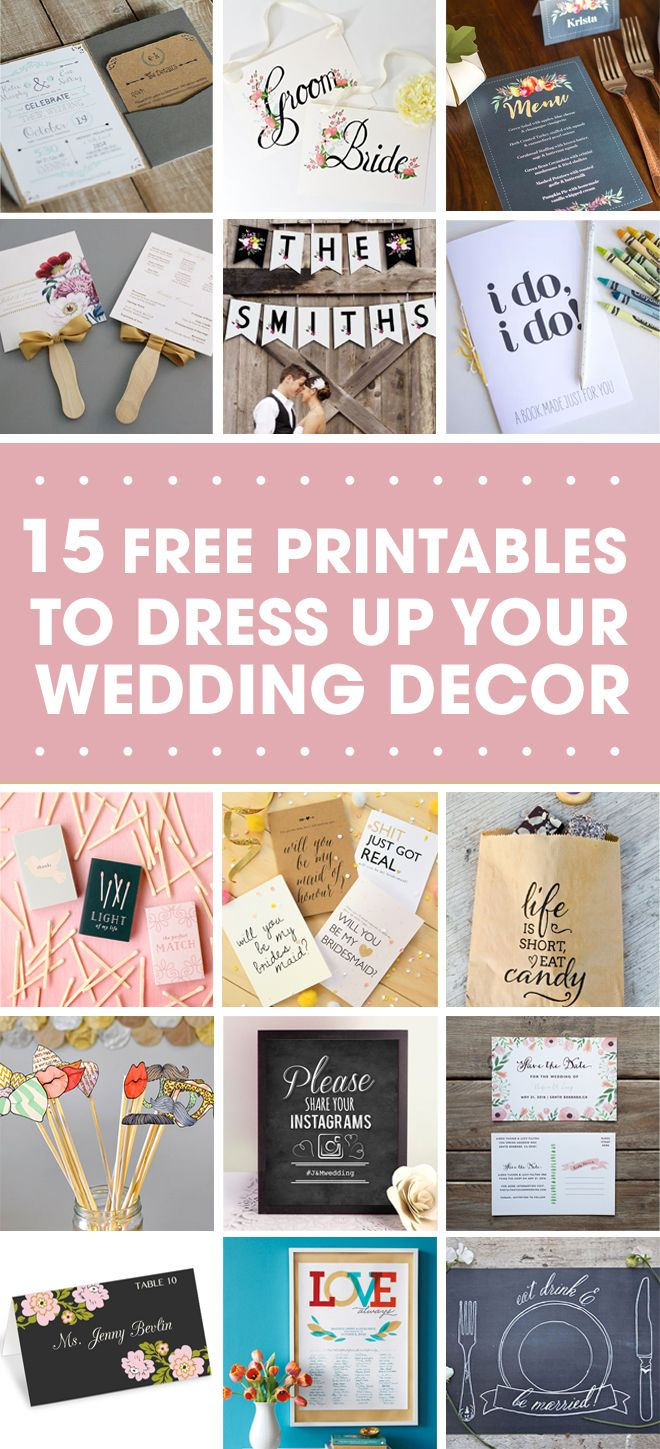 15 Free Awesome Wedding Printable Projects