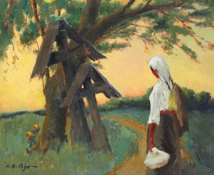 Leon Biju, Drumul spre casă - ulei pe carton, 48,5 × 59,5 cm, semnat stânga jos, cu negru, L.A. Biju