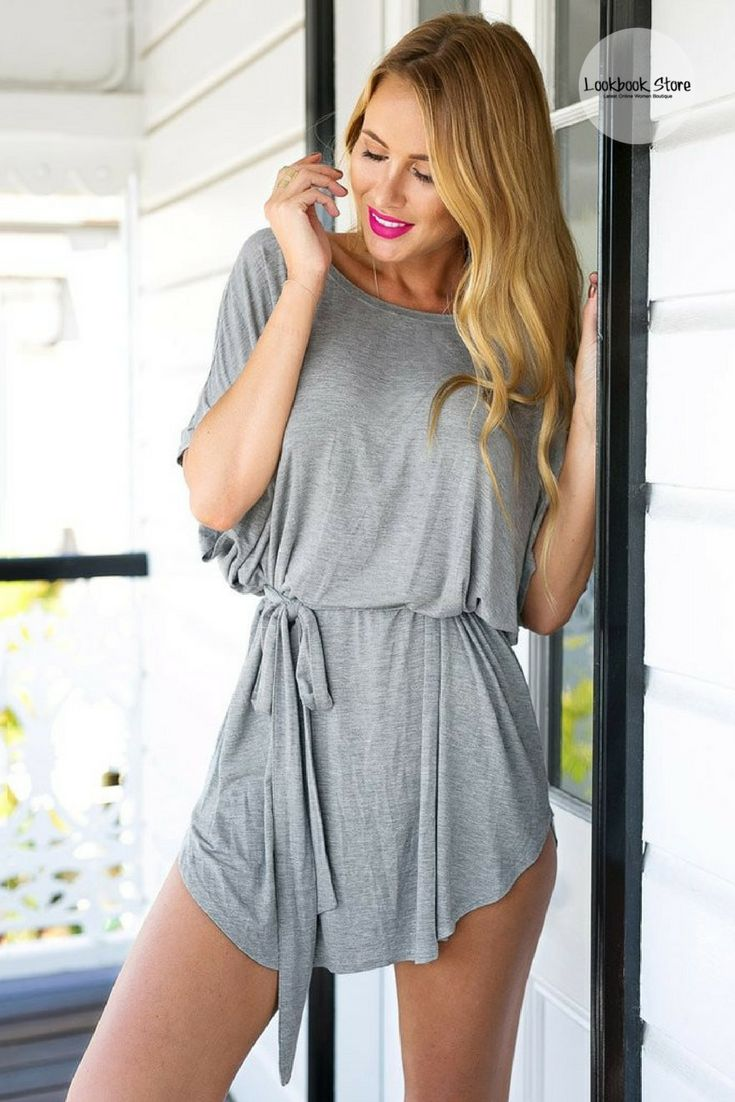 Dress comfortably this fall by wearing this cool grey t-shirt dress. Shop it here.