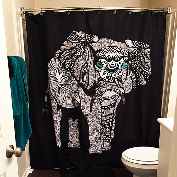 Tribal Black Elephant Shower Curtain for your by PomGraphicDesign