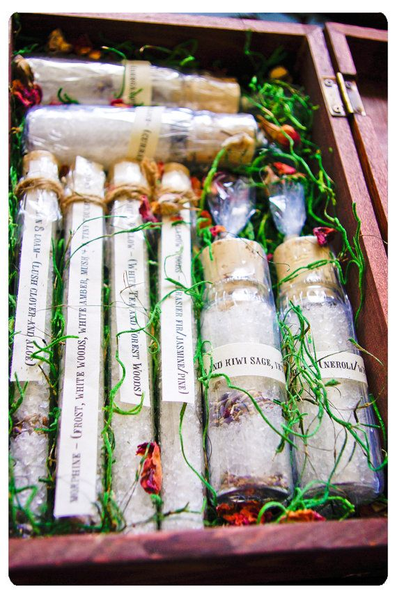 bath salts - doctor girlfriends splendiferous botanical bath salts in tall corked test tube - mad science laced in victorian charm. $7.75, via Etsy.