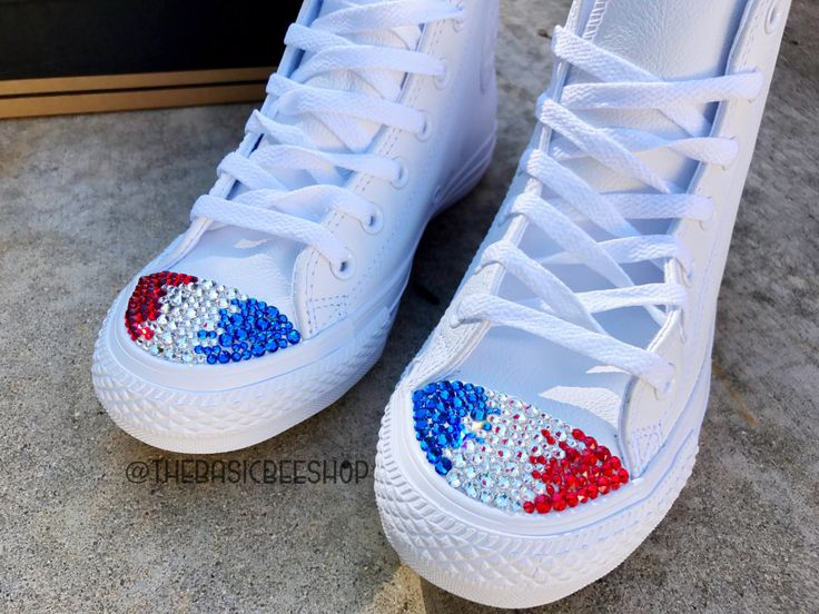 238a8307c93a ... top quality red white and blue custom chuck taylors. fourth of july  converse with rhinestones ...