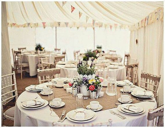 Burlap Table Square Wedding Toppersround