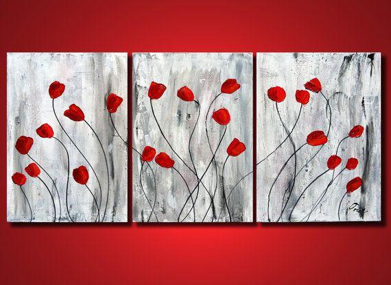 Rote Tulpen Blumen Gemälde Original Kunst Natur schwere von OritArt