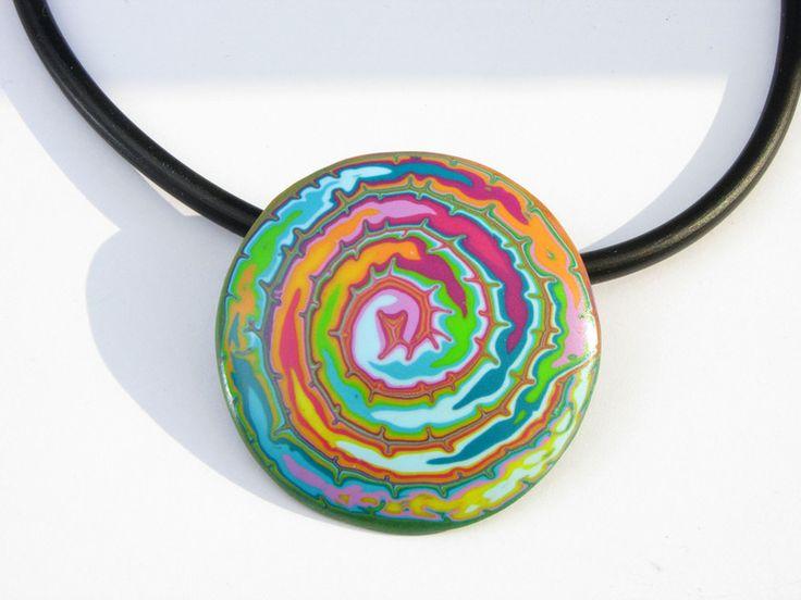 Statement Ketten -  Regenbogen Halskette, Kunst aus Polymer clay Fimo - ein Designerstück von filigran-Design bei DaWanda