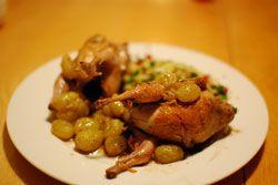 Cailles aux raisins et cidre une recette salé sucré d'automne, qui sera un beau plat de fêtes