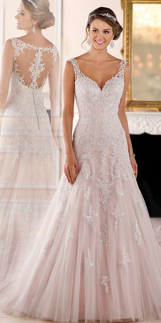 Tulle élégant décolleté en V décolleté A-ligne de robes de mariée avec ap…