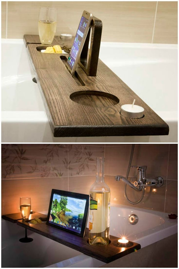 Beautiful wooden bath caddy! Made from premium oak or ash wood. Perfect luxury gift idea! This tray is great for a college student who wants to study in the tub. The wood is pretty with any decor. #LuxuryGifts – Lukas Bar