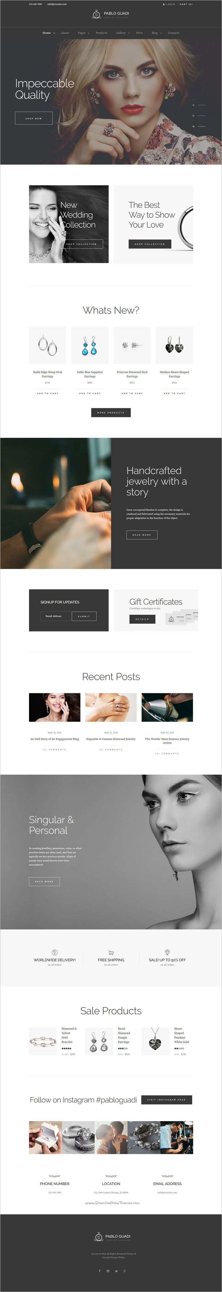 Pablo Guadi is a modern design responsive 2in1 #WordPress theme for #jewelry #designer & handcrafted jewelry online store website download now➩ https://themeforest.net/item/pablo-guadi-jewelry-designer-handcrafted-jewelry-online-shop-wp-theme/16880109?ref=Datasata