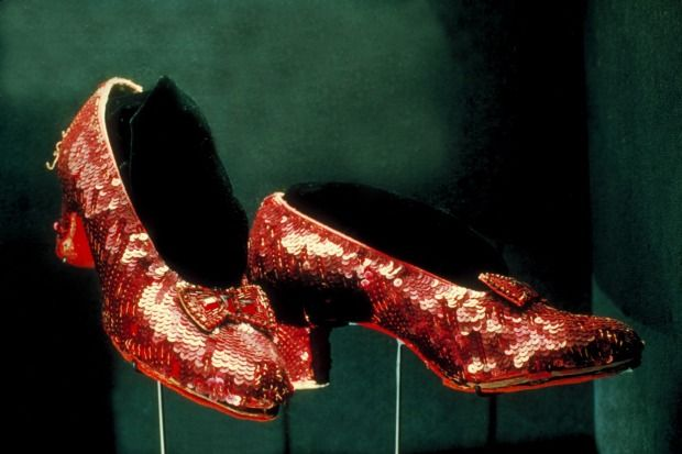 Red ruby shoes worn by Judy Garland as Dorothy in 'The Wizard of Oz' on display at Smithsonian Museum.