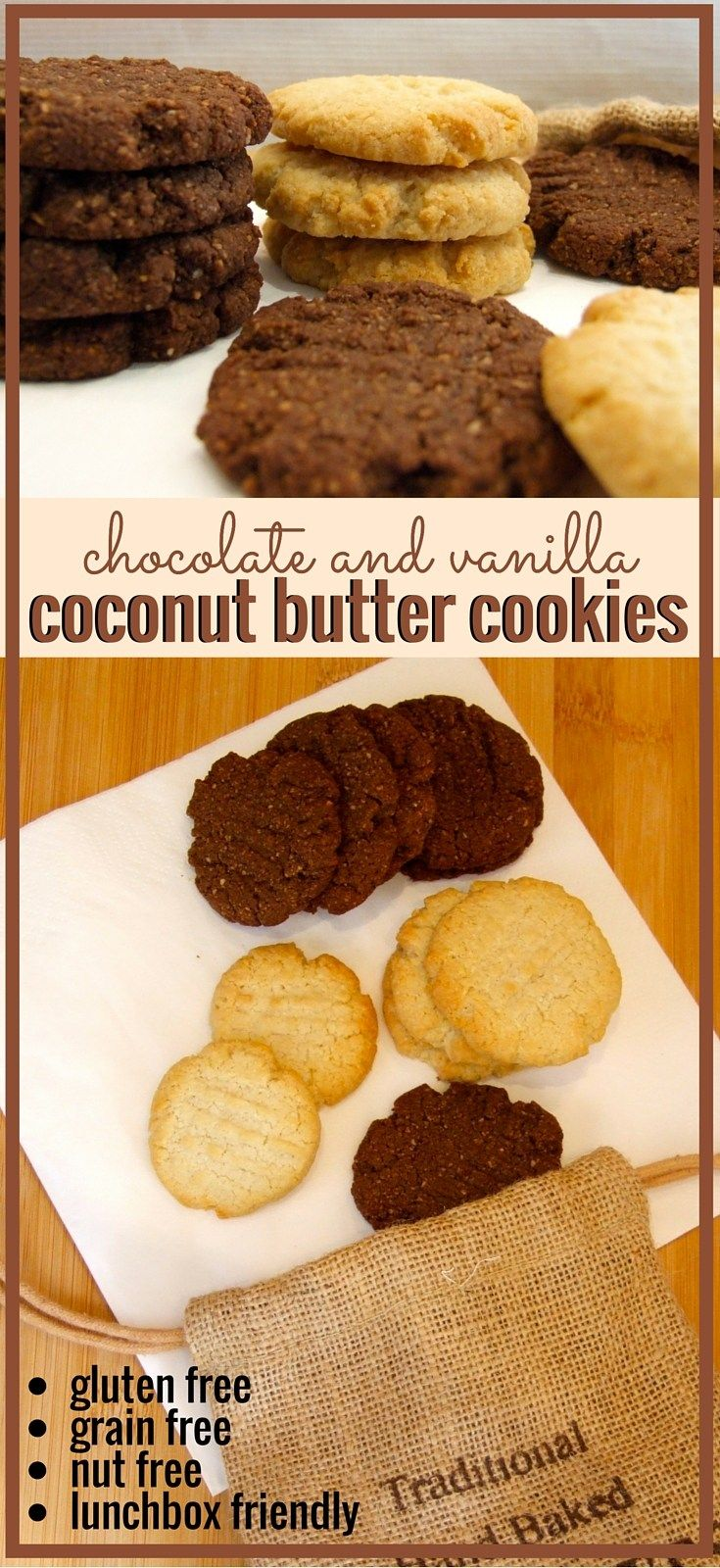 Moist and cakey, these delicious nut-free chocolate & vanilla cookies contain homemade coconut butter for a rich delicious flavour. Perfect for lunchboxes, & Passover friendly!