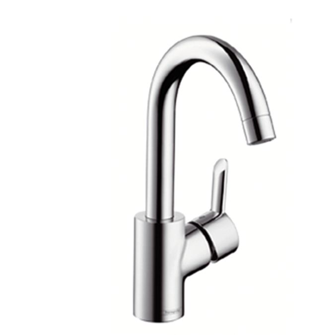 Single lever basin mixer with pop-up waste set and swivel spout with 360° range