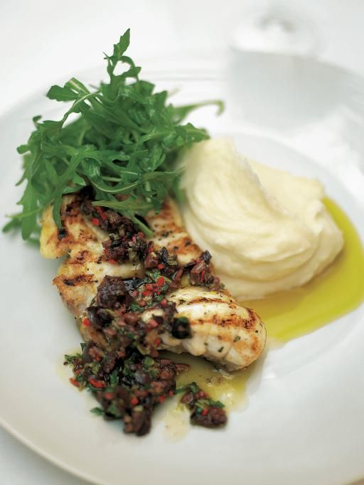 Monkfish with Black Olive Sauce and Lemon Mash