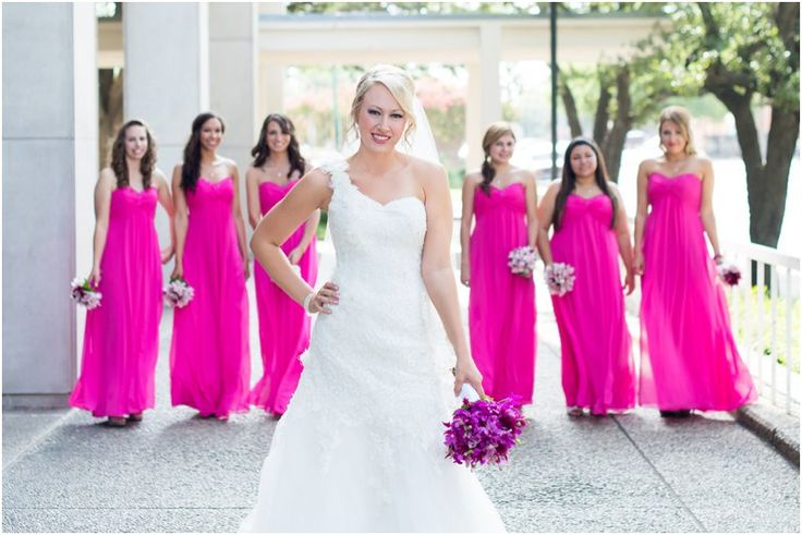 Fusia pink bridesmaid dresses // Image by Rebecca Ellison photography