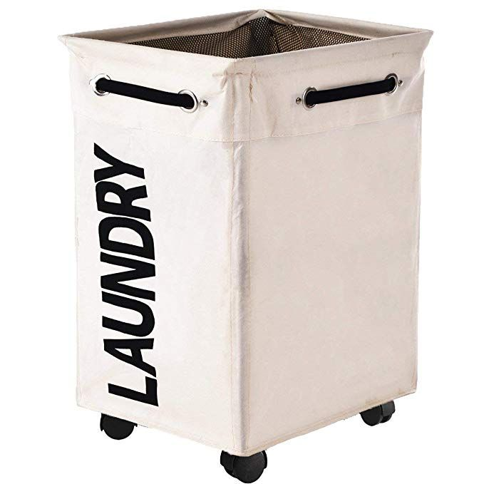 Huandry Collapsible Laundry Hamper Wheels Rolling Large Clothes