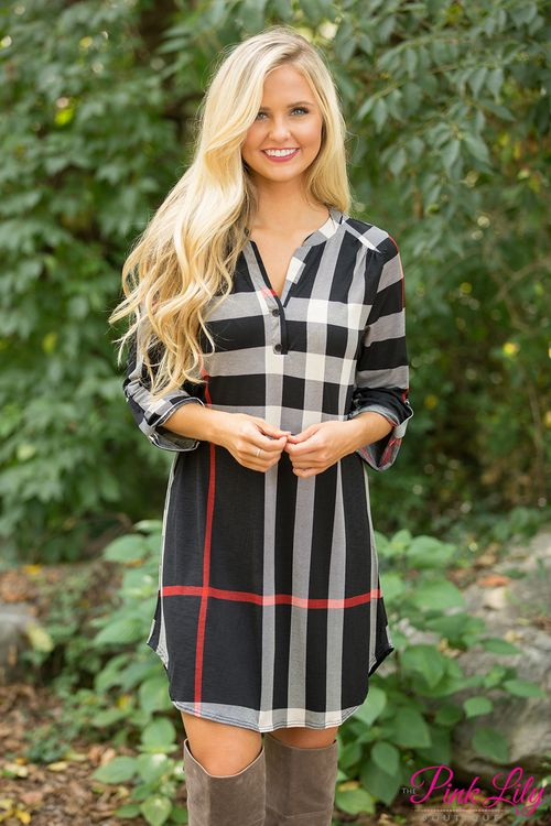 If you'd been looking for a unique twist on the classic plaid tunic dress, we've got a gorgeous look for you right here! Featuring a plaid print in black, red, and cream, this stunning combination is sure to stand out!